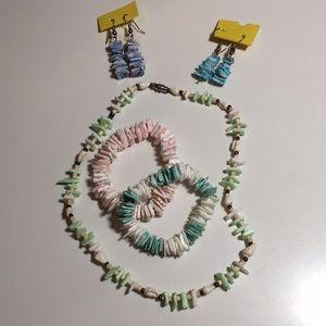 2/$18 80's Seashell Bracelets, Earrings & Necklace